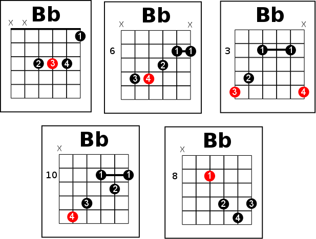 Bb Chord On Guitar - Learn The 12 Ways On How To Play It